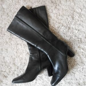 a.n.a. black leather 2.5 inch heel knee boot